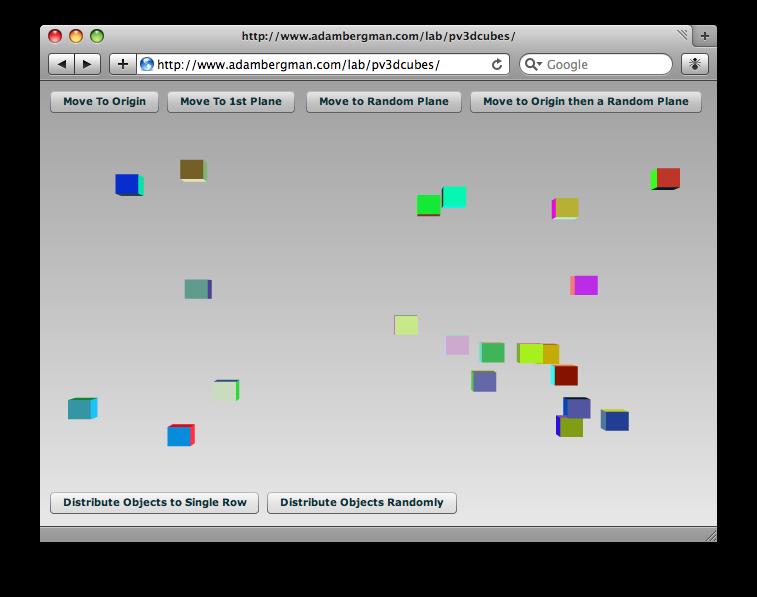 Papervision 3D Random Cubes Screenshot